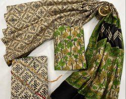 green and beige chanderi silk salwar suits online