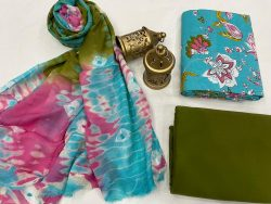 Cyan Cotton suit fabric with chiffon dupatta