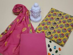 Yellow and pink cotton suits printed gota hand work suit