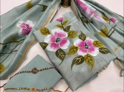 Alice Steel Teal Floral hand painted chanderi suit with dupatta
