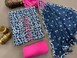 Blue And magenta cotton suits printed gota hand work suit