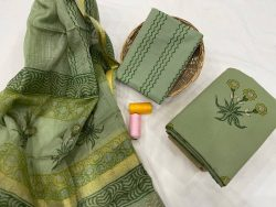 Dull green  cotton suit with silk dupatta