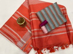 Red orange cotton linen saree with printed cotton blouse