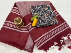 Maroon linen saree with printed cotton blouse