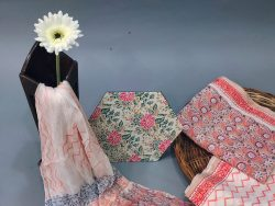 Coral Pink and white Cotton suit fabric with chiffon dupatta
