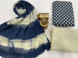 White and Blue  cotton suits with pure chiffon dupatta