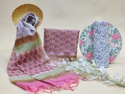 Pink and white Chanderi cotton suit with chanderi cotton dupatta