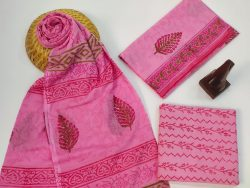 Pink cotton suits with mulmul dupatta