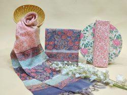 Blue floral print Chanderi cotton suit with chanderi cotton dupatta