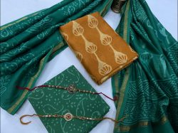 Goldenrod amber and green unstitched chanderi silk suits