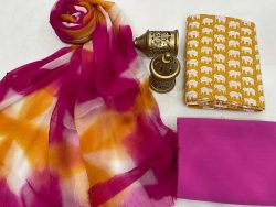 Amber and magenta cotton suits with pure chiffon dupatta
