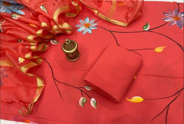 Red cotton Salwar suit with kota silk dupatta