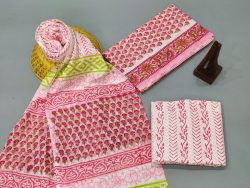 Pink and white Cotton dupatta suits With dupatta online