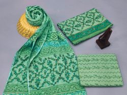 Moss Green cotton suits with cotton dupatta