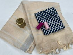 Beige linen saree with printed cotton blouse