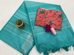 Light Teal Blue  linen saree with printed cotton blouse