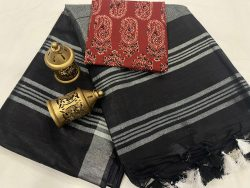 Black linen saree with printed cotton blouse