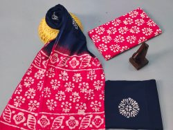 Red And Prussian Blue Mulmul Dupatta Suit