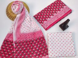 Red And White Dotted Mulmul Dupatta Cotton Suit