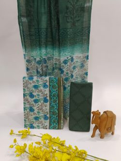 Teal Green Cotton Suit With Linen Dupatta