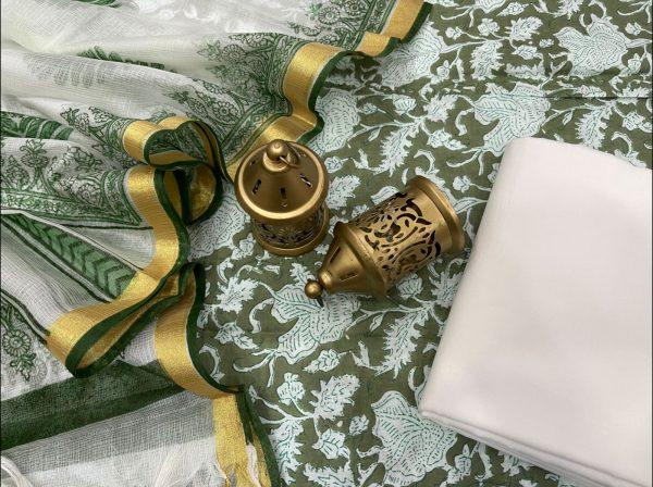 Viridian Green Cotton Suit With Kota Silk Dupatta