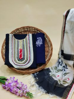 White and blue embroidered salwar suit with Chanderi cotton dupatta