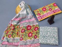 Yellow Red Floral Mulmul Dupatta Suit