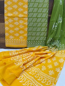 Amber and green Pigment print cotton dupatta suit