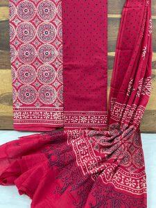 Crimson Pigment print cotton dupatta suits online