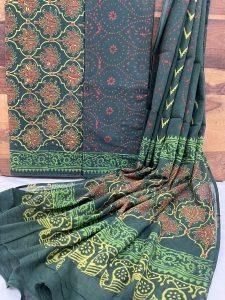 Green Pigment print cotton mulmul dupatta suit set