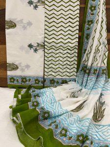 White floral print cotton dupatta suits online
