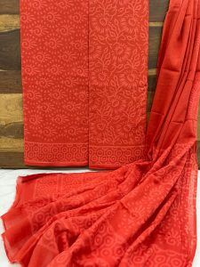 Orange Pigment print cotton dupata suit