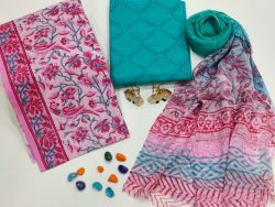 Teal and Pink color Cotton suit fabric with chiffon dupatta