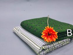 Green and white cotton running material