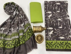 Taupe  gray and white cotton dress materials with chiffon dupatta