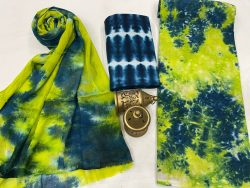 Lime and blue Cotton suits with pure chiffon dupatta