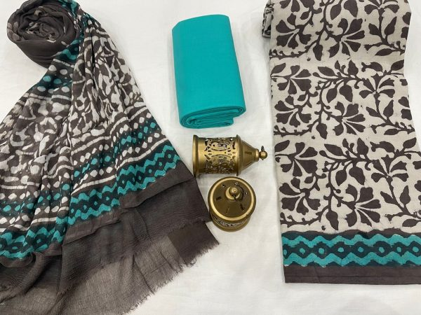 Taupe and green cotton suits with pure chiffon dupatta