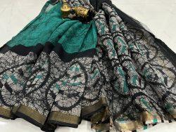 Green and Black kota doria saree with blouse