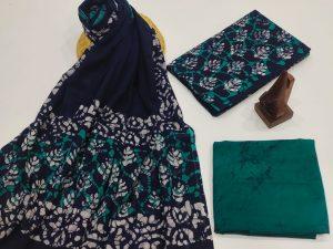 Green and blue Cotton dupatta suit set