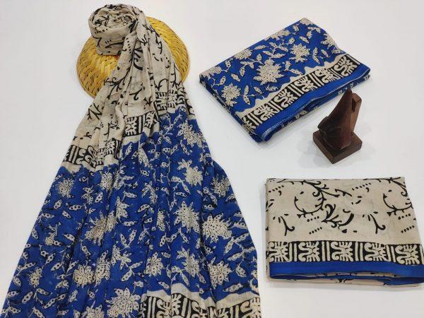Deep Persian Blue Mulmul Dupatta Suit
