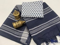 Blue and white linen saree with printed cotton blouse