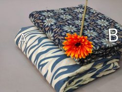 Blue floral print cotton running fabric