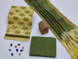 Dark Olive Green and Pale Canary Yellow salwar suit with chanderi dupatta set