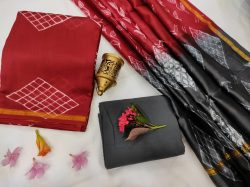 Deep Carmine And Slate gray chanderi suit with dupatta online