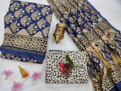 Blue and white Chanderi suit with chanderi dupatta online