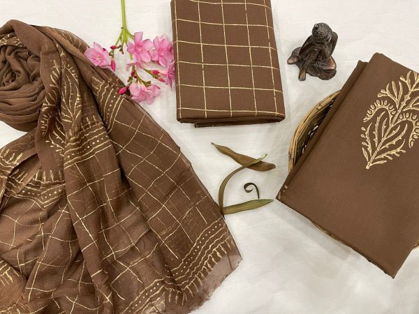 Brown Cotton suits with pure chiffon dupatta