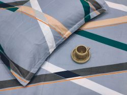 Superiority Blue Poly pure cotton bedsheet with 2 pillow
