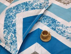 Blue and white Poly Cotton bed sheet with pillow