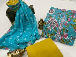 Light Teal Blue cotton suits printed gota hand work suit