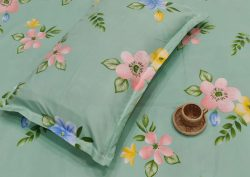 Acapulco green Poly cotton bed sheet with piillow cover
